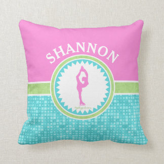 Tri-Pastel Color Figure Skating With Aqua Tile Throw Pillow