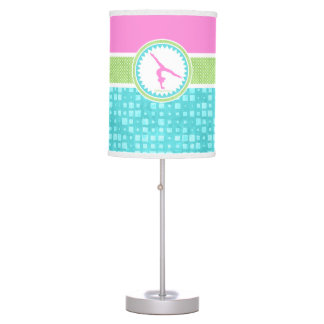 Tri-Pastel Color Gymnastics With Aqua Tile Table Lamp