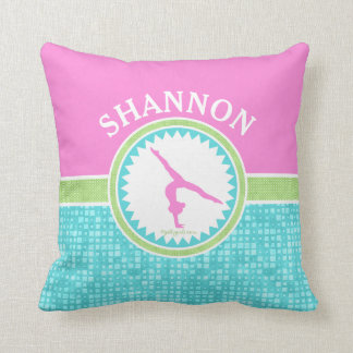 Tri-Pastel Colour Gymnastics With Aqua Tile Throw Pillow