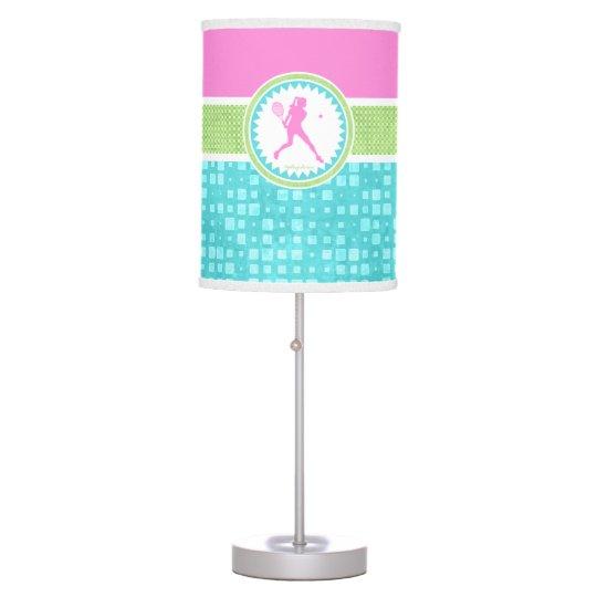 Tri-Pastel Colour Tennis With Aqua Tile Table Lamps