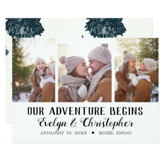 Tri-Photo Save the Date - Our Adventure Begins Card