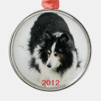 Tri Sheltie in Snow Template Metal Ornament