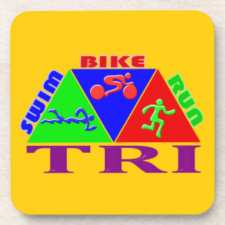 Tri Triathlon Figures Design Coaster