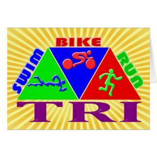 TRI Triathlon Swim Bike Run PYRAMID Design Card
