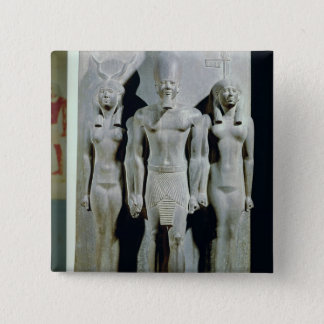 Triad of Menkaure  with the goddess Hathor 2 Inch Square Button