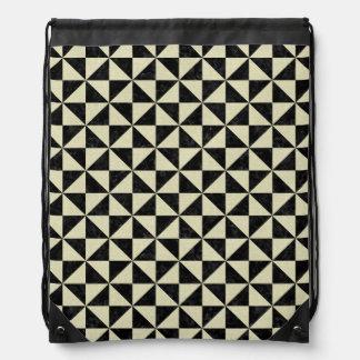 TRIANGLE1 BLACK MARBLE & BEIGE LINEN DRAWSTRING BAG