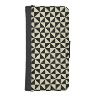 TRIANGLE1 BLACK MARBLE & BEIGE LINEN iPhone SE/5/5s WALLET CASE