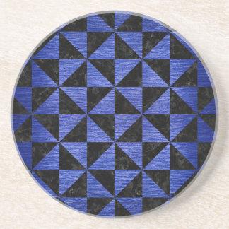 TRIANGLE1 BLACK MARBLE & BLUE BRUSHED METAL COASTER