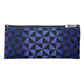 TRIANGLE1 BLACK MARBLE & BLUE BRUSHED METAL PENCIL CASE