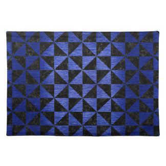 TRIANGLE1 BLACK MARBLE & BLUE BRUSHED METAL PLACEMAT