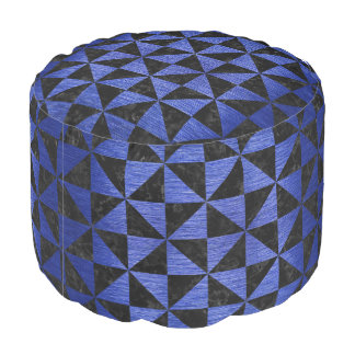 TRIANGLE1 BLACK MARBLE & BLUE BRUSHED METAL POUF