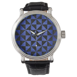 TRIANGLE1 BLACK MARBLE & BLUE BRUSHED METAL WATCH