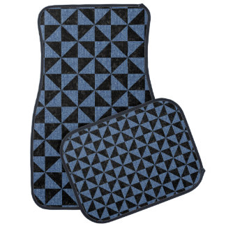 TRIANGLE1 BLACK MARBLE & BLUE DENIM CAR MAT