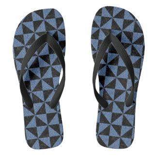 TRIANGLE1 BLACK MARBLE & BLUE DENIM FLIP FLOPS