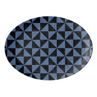 TRIANGLE1 BLACK MARBLE & BLUE DENIM PORCELAIN SERVING PLATTER