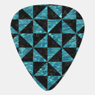 TRIANGLE1 BLACK MARBLE & BLUE-GREEN WATER GUITAR PICK