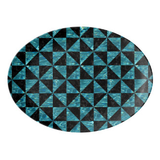 TRIANGLE1 BLACK MARBLE & BLUE-GREEN WATER PORCELAIN SERVING PLATTER