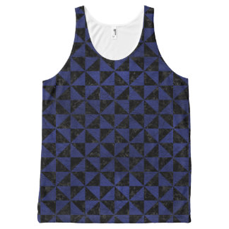 TRIANGLE1 BLACK MARBLE & BLUE LEATHER All-Over-Print TANK TOP