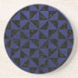 TRIANGLE1 BLACK MARBLE & BLUE LEATHER COASTER