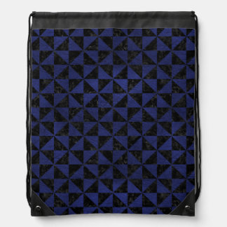 TRIANGLE1 BLACK MARBLE & BLUE LEATHER DRAWSTRING BAG