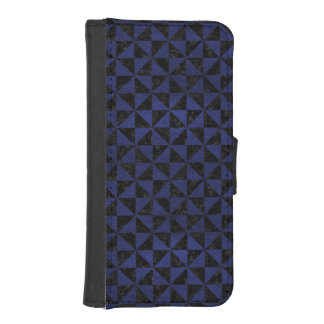 TRIANGLE1 BLACK MARBLE & BLUE LEATHER iPhone SE/5/5s WALLET CASE