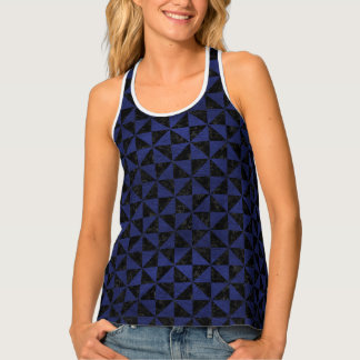 TRIANGLE1 BLACK MARBLE & BLUE LEATHER TANK TOP