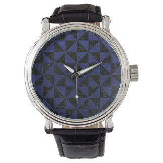 TRIANGLE1 BLACK MARBLE & BLUE LEATHER WATCH