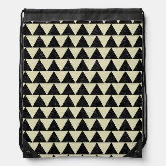 TRIANGLE2 BLACK MARBLE & BEIGE LINEN DRAWSTRING BAG