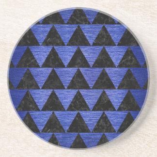 TRIANGLE2 BLACK MARBLE & BLUE BRUSHED METAL COASTER
