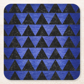 TRIANGLE2 BLACK MARBLE & BLUE BRUSHED METAL SQUARE PAPER COASTER