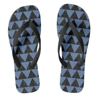 TRIANGLE2 BLACK MARBLE & BLUE DENIM FLIP FLOPS