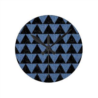 TRIANGLE2 BLACK MARBLE & BLUE DENIM ROUND CLOCK