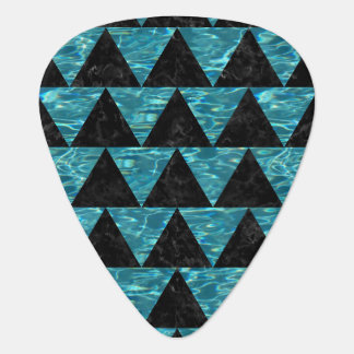 TRIANGLE2 BLACK MARBLE & BLUE-GREEN WATER GUITAR PICK