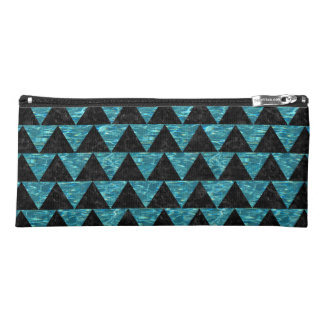 TRIANGLE2 BLACK MARBLE & BLUE-GREEN WATER PENCIL CASE