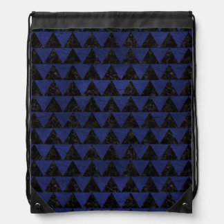 TRIANGLE2 BLACK MARBLE & BLUE LEATHER DRAWSTRING BAG