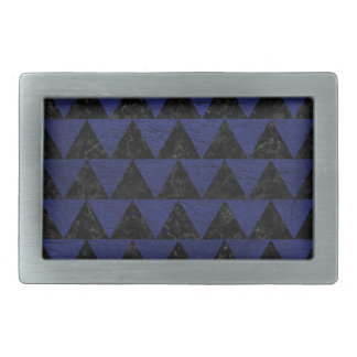 TRIANGLE2 BLACK MARBLE & BLUE LEATHER RECTANGULAR BELT BUCKLES