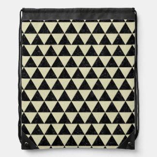TRIANGLE3 BLACK MARBLE & BEIGE LINEN DRAWSTRING BAG
