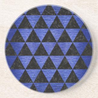 TRIANGLE3 BLACK MARBLE & BLUE BRUSHED METAL COASTER