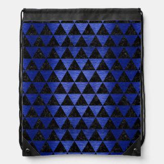 TRIANGLE3 BLACK MARBLE & BLUE BRUSHED METAL DRAWSTRING BAG