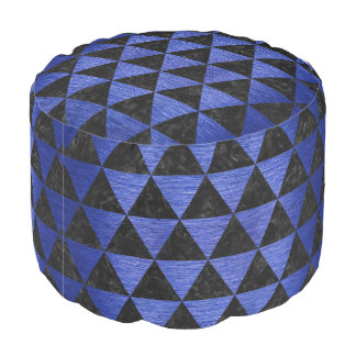 TRIANGLE3 BLACK MARBLE & BLUE BRUSHED METAL POUF