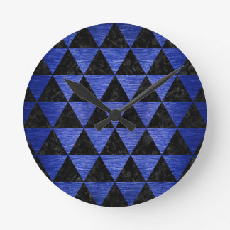 TRIANGLE3 BLACK MARBLE & BLUE BRUSHED METAL ROUND CLOCK