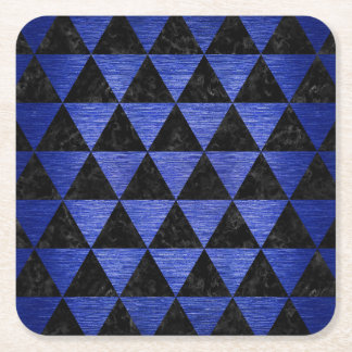 TRIANGLE3 BLACK MARBLE & BLUE BRUSHED METAL SQUARE PAPER COASTER