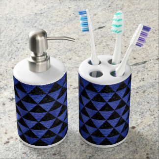 TRIANGLE3 BLACK MARBLE & BLUE BRUSHED METAL TOOTHBRUSH HOLDER