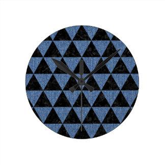 TRIANGLE3 BLACK MARBLE & BLUE DENIM ROUND CLOCK