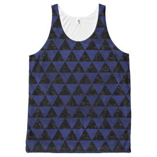 TRIANGLE3 BLACK MARBLE & BLUE LEATHER All-Over-Print TANK TOP