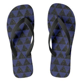TRIANGLE3 BLACK MARBLE & BLUE LEATHER FLIP FLOPS