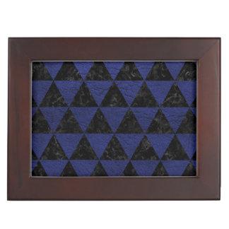 TRIANGLE3 BLACK MARBLE & BLUE LEATHER KEEPSAKE BOX
