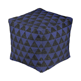 TRIANGLE3 BLACK MARBLE & BLUE LEATHER POUF