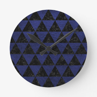 TRIANGLE3 BLACK MARBLE & BLUE LEATHER ROUND CLOCK