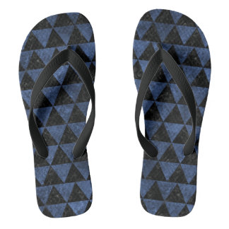 TRIANGLE3 BLACK MARBLE & BLUE STONE FLIP FLOPS